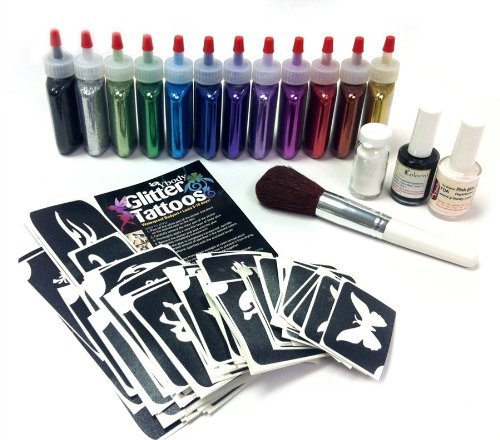 Ybody Glitter Tattoos Professional Glitter/shimmer Tattoo Kit Poof Bottles Rainbow Set by Ybody Glitter Tattoos by Ybody Glitter Tattoos (Image #1)