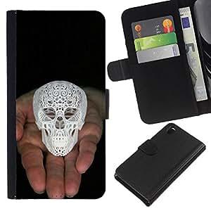 EJOY---La carpeta del tirón la caja de cuero de alta calidad de la PU Caso protector / Sony Xperia Z3 D6603 / --Cráneo Impreso 3D White Palm Negro