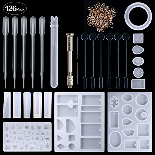 Resin Silicone Jewelry Casting Making Molds, Include Assorted Styles Mould, Hand Twist Drill, Stirrers, Droppers, Screw Eye Pins, 125 Pieces by Zeker
