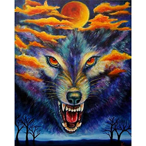(♚Rendodon♚ DIY Decoration, Wolf Pattern 5D Point Drill Painting, 5D Embroidery Paintings Rhinestone Pasted DIY Diamond Painting Cross Stitch)