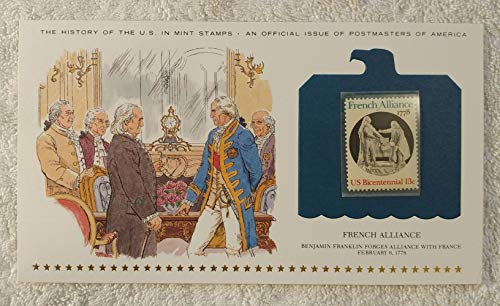 French Alliance - Benjamin Franklin Forges Alliance with France - Postage Stamp (1978) & Art Panel - History of the United States: an official issue of Postmasters of America - Limited Edition, 1979 - Revolutionary War