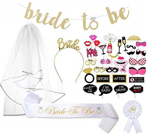 Bachelorette Party Supplies Set – Ultimate Bride To Be Kit, Hen Party, Bridal Shower Set – All-In-One 37-Piece Girls Night Out Party Supplies Decoration – Sash, Tiara, Veil, badge, banner + Photo Prop