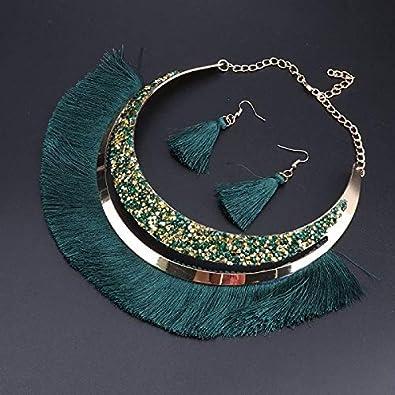 FUKAI Simple Borla Vintage Collar De Cristal De Bohemia Pendiente para Las Mujeres Hechas A Mano Conjunto De Joyas Colgantes Femeninas Banquete De Boda