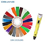 DEWANG Equipment 3D Printing Pen Plastic with LCD Screen 22 Pack 1.75mm ABS or PLA Filament Refills 6 of which Glow Machine Printer Pencil for 3D Craft,Draws in the Air