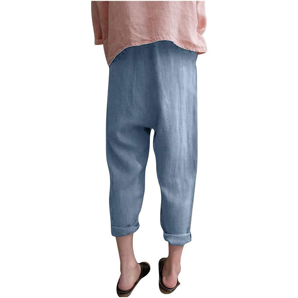 Amazon.com: Creazrise - Pantalones de algodón y lino para ...