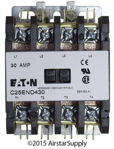 Single Coil 480vac Contactor Pole (Eaton C25END430T Definite Purpose Contactor, 50mm, 4 Poles, Screw/Pressure Plate, Quick Connect Side By Side Terminals, 30A Current Rating, 2 Max HP Single Phase at 115V, 10 Max HP Three Phase at 230V, 15 Max HP Three Phase at 480V, 24VAC Coil Voltage)