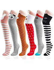 Girls Socks, Outee 6 Pairs Knee High Socks Long Fuzzy Knee High Socks Christmas Knee Socks
