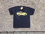 Sale!!!20% Off,Classic Porsche 944 Sport, Mens Car T-shirt,Original Painting T-shirt, A Black Shirt with Yellow Porsche, Shirt ''Fruit of the Loom'', size L.