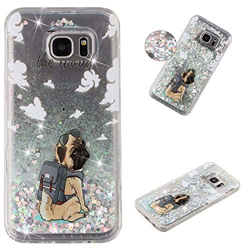 Glitter Case for Samsung Galaxy S7 Edge,QFFUN Bling Floating Liquid Quicksand Soft Clear Slim Fit Silicone Case with Screen Protector Shockproof Anti-Scratch Bumper Protective Cover - Dog