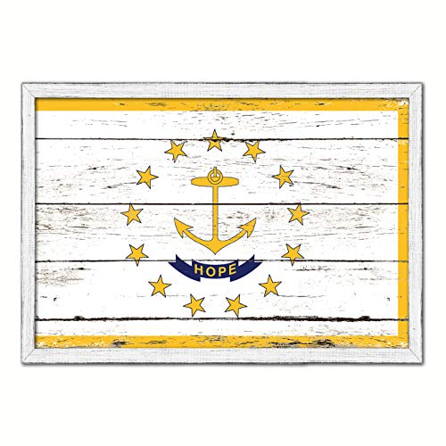 Rhode Island State Flag White Cottage Farmhouse Shabby Chic Gifts Home Decor Wall Art Canvas Print, Wash Wood Frame, 13