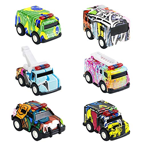 Pull Back Vehicles Metal Toy Cars for Children Toddlers Kids Mini Car Toys Party Favors Cake Decorations Topper Birthday Gift 6 Packs (Pull Back Vehicle)