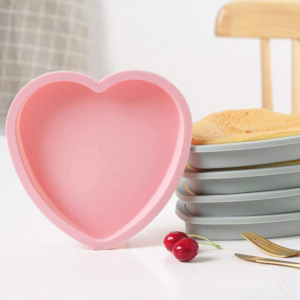 Blue, Heart 6In Cake Mold Silicone Heart Round Mousse Bread Tins Pan Bakeware Mould Non-Stick Baking Tray