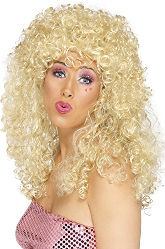 Blonde Curly Hair Costumes (Smiffy's Women's Long Blonde Curly Hair Wig, One Size, Boogie Babe Wig, 42065)