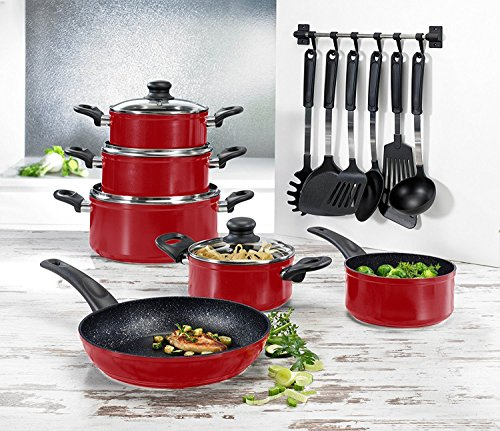 BEEM 17 Piece Cast Aluminum Non Stick Cookware Set with Cooking Utensils - Non-stick - 17-Piece - Red