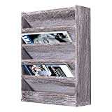 Rustic Wood Document Filing Organizer for Home or Office – Wall Mounted Magazine Holder with 5 Slots – Mail Organizer for Wall – Real Torched Wood Mail Rack Tray – Rustic White