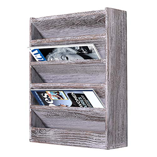 Comfify Rustic Wood Document Filing Organizer for Home or Office – Wall Mounted Magazine Holder with 5 Slots – Mail Organizer for Wall – Real Torched Wood Mail Rack Tray – Rustic White