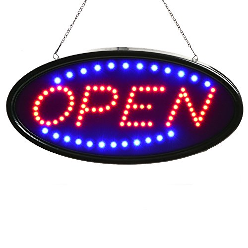 Neon Sign Open, AGPtek 19x10inch LED Business Open Sign Advertisement Board Electric Display Sign, Two Modes Flashing & Steady Light, for Business, Walls, Window, Shop, Bar, Hotel -