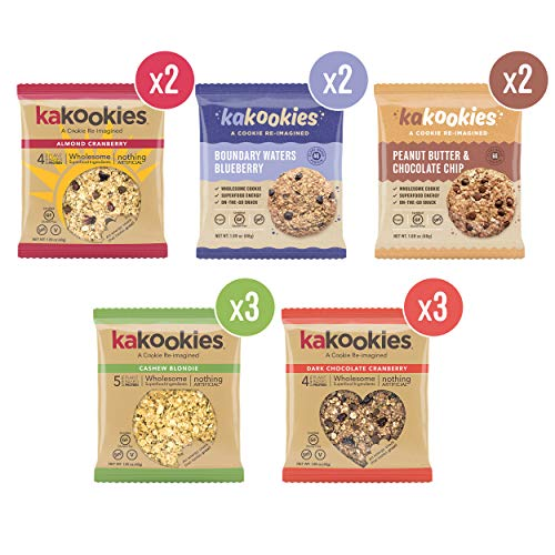 Kakookies, Assortment (Box of 12), Energy Snack Cookies with Plant-Based Protein, Vegan, Gluten-Free, Dairy-Free, Soy-Free, Soft Baked
