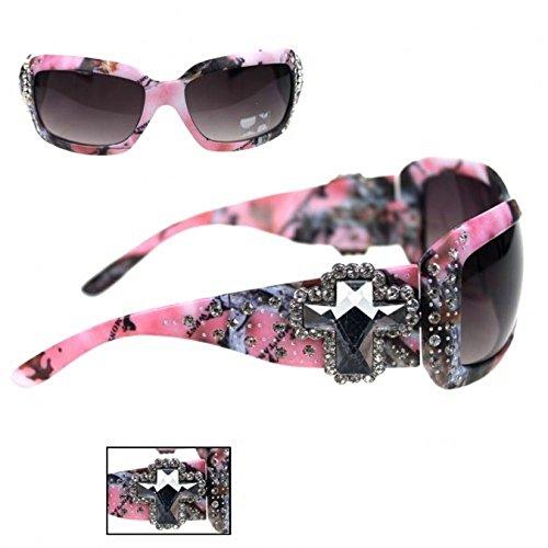 Montana West Camo Cross Concho Sunglasses with Case (Pink, Black) - Pink Rhinestone Concho
