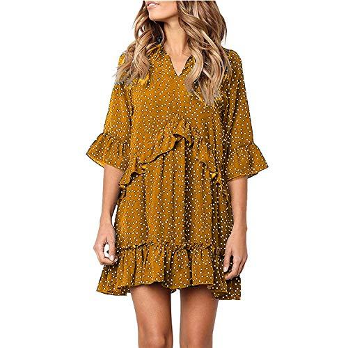 Dot Half Sleeve Ruffles Dress 2019 Women Summer Flare Sleeve Casual V Neck Elegant Short Dress Vestidos,Color 1,S