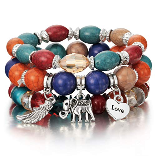 Boho Bracelets Multicolor Stretch Beaded Stackable Charm Bangles Natural Gemstone Jewelry for Women Men ()