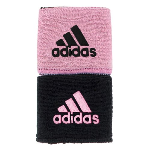 adidas Interval Reversible Wristband, Black/Gala Pink / Gala Pink/Black, One Size Fits All