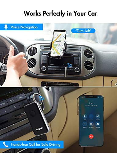 Mpow BH045 Bluetooth Receiver and Transmitter Upgraded with aptx and aptX-LL, Bluetooth Car Adapter w/Built-in Mic for Hands-Free Call, Bluetooth Transmitter for TV to Pair with 2 Bluetooth Headphones by Mpow (Image #4)