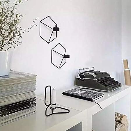 Cratone 2Pcs Chandeliers G/éom/étriques Tridimensionnels Lampe en Forme de bougeoir 3D en Fer geometrique Lampe de Decorations Metallique Murale Decoration