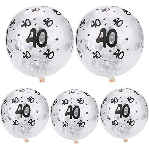 - Happy Birthday Silver Confetti Balloons - Gbell 5Pcs 30th 40 50th Happy Birthday Age Confetti Filled Balloons Bulk Wedding Anniversary Party Decor