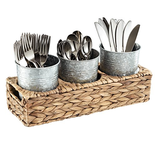 Artland Garden Terrace Flatware Seagrass Caddy with 3 Galvanized Jars, - Terrace Garden