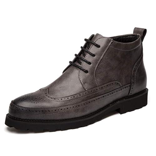 Hombres Botines Hombre Oficina De Negocios Zapatos De Cuero Formales Antideslizantes Botas De Invierno En Negro MarróN Gris: Amazon.es: Zapatos y ...