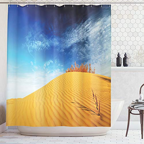 (Ambesonne Landscape Shower Curtain, Hot Desert with Sand Dunes and Dry Plants with Blue Sky Nature Art Print, Fabric Bathroom Decor Set with Hooks, 70 Inches, Blue Apricot)