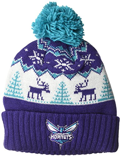 fan products of NBA Charlotte Hornets Reindeer Cuffed Pom Knit,Charlotte Hornets,Purple,One Size