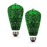 SleekLighting 2 watt LED light bulb - Fairy like Fireworks ST19 – General Purpose Green LED Light Bulb – UL Approved – Uses 2 Watts of Energy, 110 volts, Instant On, Average Life 10,000 hours (Color: Green)