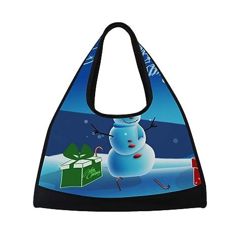 d35a9ee1332b Image Unavailable. Image not available for. Color  HUVATT Gym Bag Cute  Little Snowman Women Yoga Canvas Duffel ...