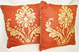 PAIR! French Motif Scroll and Fleur di Lis Outdoor 20 x 20 Throw Pillow with Corded Edge - Very Fabric