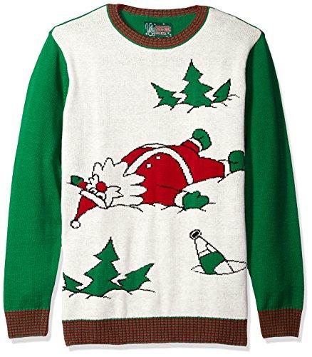 Ugly Christmas Sweater Men's Drunk Santa, White Hea, -