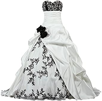 Womens flowers embroidery wedding dresses satin bridal gown at womens flowers embroidery wedding dresses satin bridal gown size 2 us white and black mightylinksfo