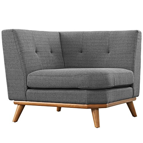 Modway Engage Mid-Century Modern Upholstered Fabric Corner Sofa In Gray