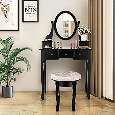 MD Group Mirrored Vanity Table Set w/Cushioned Stool & 5 Drawers
