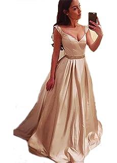 CCBubble V Neck Prom Dresses 2018 Satin Prom Dress