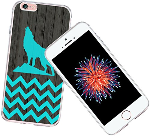 Case for iPhone 6S Chevron Animal - CCLOT Protective Cover Compatible for iPhone 6S&6 Blue Chevron Animal Print Design Vintage Theme Pattern Design Personalised (TPU Protective Silicone Bumper - Animal Personalised