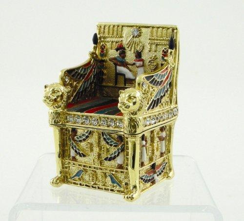 Enamel Egyptian King's Throne Jeweled Jewelry/Trinket Box Figurine ()
