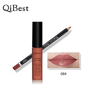 Fullkang Waterproof Matte Liquid Long Lasting Lip Gloss Lipstick 34 Colors (With Lipliner 06#)