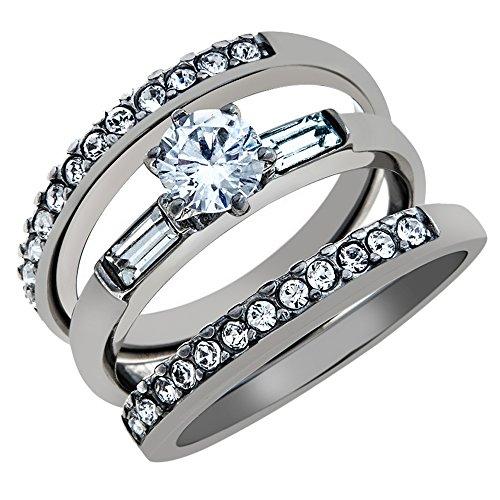 1Ct Round Cut & Baguette 3 Piece Wedding & Engagement Ring Set Women's Size 6