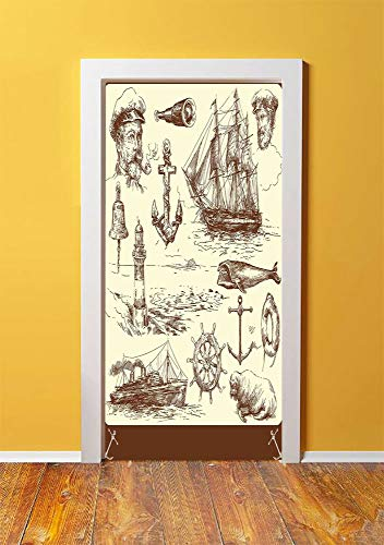 - Marine Navy Captains 3D Door Sticker Wall Decals Mural Wallpaper,Oceanic Theme Retro Style Drawing Effect Framed Nautical Collection,DIY Art Home Decor Poster Decoration 30.3x78.9214,Brown Cream