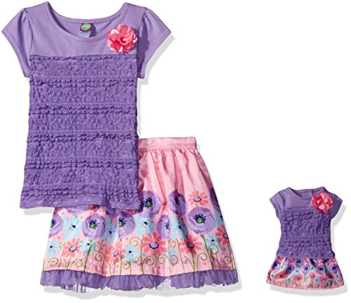 Dollie & Me Big Girls' Lace Top With Woven Skirt and Matching Doll Outfit, Lilac/Pink, 12 (Dolly And Me Outfits For Girls)