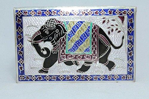 Rajasthan Gems India Enamel Cloisonne Work On 925 Sterling Silver Trinket Box Elephant figure