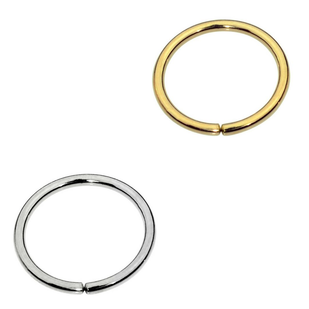 Sampson Nose Ring Hoop - One Pair - Tragus Cartilage Helix Earring - One Sterling Silver One 14K Yellow Gold Filled- 22 Gauge 7mm Inner Diameter