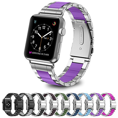 GreenInsync Apple Watch Bands 38mm Metal, Special Edition Stainless Steel Wristbands Metal Buckle Clasp Watch Strap Replacement Bracelet with Silicone Cover Purple for Apple Watch Series 3/2/1 2017 (Series Purple)